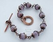Amethyst bracelet, gemstone bracelet, amethyst, purple bracelet, gemstone jewelry, lavender amethyst, semi precious, copper bracelet, wire