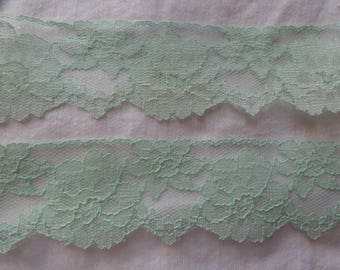 Vintage Mint Green Lace Trim by the Yard 2 inches wide Pale Green Vintage Lace Sewing Crafts Lingerie Bridal Floral Arrangements