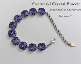 Tanzanite Swarovski Bracelet, 12mm Cushion Cut Crystals, 10 Crystals In A 4 Prong Antique Silver Setting, 2 Inch Extender, Lobster Clasp