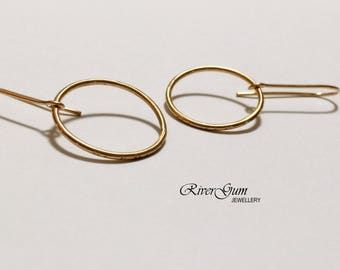Gold Filled Earrings, Circle Earrings, Geometric Earrings, Modern, Minimalist, Handmade by RiverGum Jewellery
