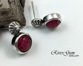 Red Ruby Stud Earrings, Gemstone Earrings, Sterling Silver Stud Earrings, July Birthstone, Handmade by RiverGum Jewellery
