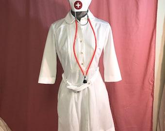 NURSE costume or Diner waitress Flo Alice 70's vintage white dress  womens  Halloween Costume