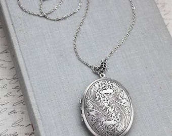 VACATION SALE- Silver Feather Locket Necklace