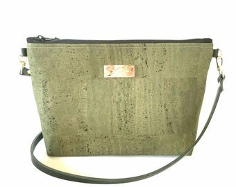 Green Cork Bag - Crossbody Purse -leather strap