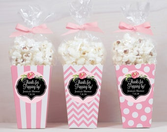12 Custom Popcorn Box Favors - Baby Girl Favors - Personalized Favors - Thanks for Popping By - Pink Popcorn Boxes - Baby Shower Favors