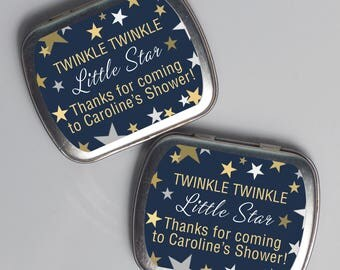 15 Personalized Favor Tins - Custom Mint Tins - Baby Shower Favors - Twinkle Little Star - Metal Tins - Custom Shower Favors - 2.5 x 2