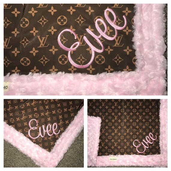 LV blanket with NAME,  Baby Blanket YOU pick minky color