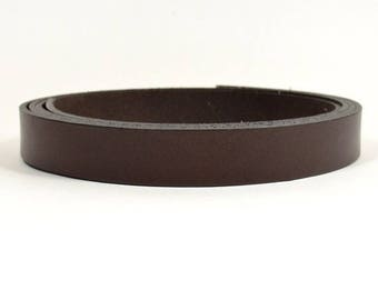 15mm Flat Leather - Chocolate Brown - L15F-10 - Choose Your Length