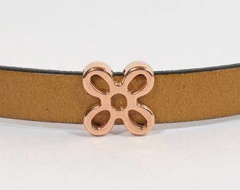25% Off Flower Sliders for 10mm Flat Leather - Rose Gold - SL206-RG - Choose Your Quantity