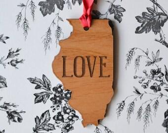 LOVE Engraved Illinois Ornament