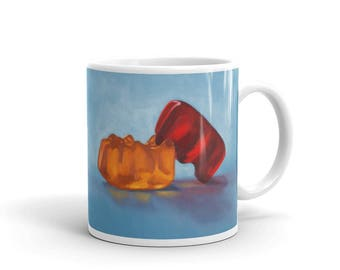 Gummilingus 11oz Mug, gummy bears, kitsch, adult, humor, funny, unusual, sex, candy, playful, unique, colorful, coffee, relationship, love