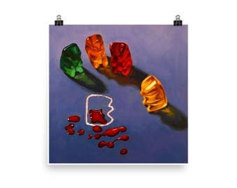 Gummy CSI  Art Print from original painting, realism, kitsch, crime, fun, humor, narrative, playful, candy, investigation, naughty, unusual