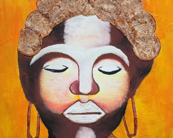 African Queen - ooak - 20 x 16ins (50 x 40cms) She is regal and beautiful, serene and filled with the spirit of Africa