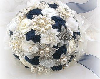 Brooch Bouquet,Navy Blue,Navy Wedding Bouquet,Vintage Style,Elegant Wedding,Fabric Bouquet,Jeweled Bouquet,Bridal Bouquet,Pearl Bouquet