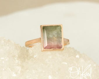 Watermelon Tourmaline Ring - Rectangular Tourmaline Ring - Heirloom Ring
