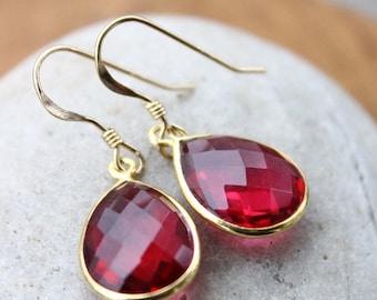 ON SALE Gold Red Ruby Quartz Gemstone Earrings - Teardrops - 14Kt Gold Fill