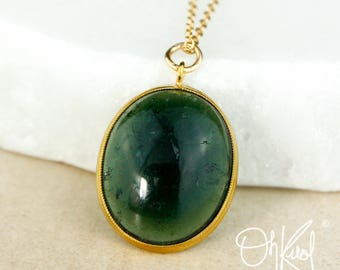 Teal Green Tourmaline Necklace - Oval Tourmaline Pendant - Tourmaline Jewelry