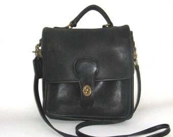 vintage coach black leather bag   ...   classic  willis station satchel  ... messenger cross body bag