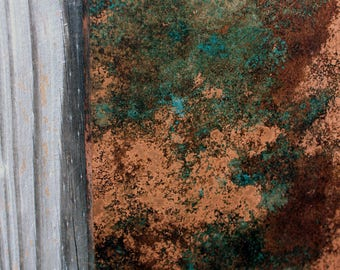 Light Copper Wall Art. Copper Patina Art. Copper Wall Decor. Metal Wall Art. Metal Art. Metal Patina Art. 9w x 30l. Clear Coat Finish