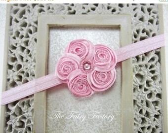 Pink Flower Headband - Posh Mini Pink Beaded Satin Swirl Flower Pink Headband or Hair Clip, Baby Headband, Toddler Child Girls Headband