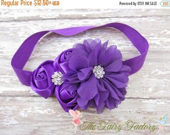 Purple Flower Headband, Satin & Chiffon Flowers w/ Rhinestones Headband or Hair Clip, Flower Girl Headband, Baby Child Girls Headband