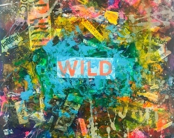 "Small abstract collage on wood - 8x8 in - ""Chance Encounter"" typography, words, paper, wood, modern painting"