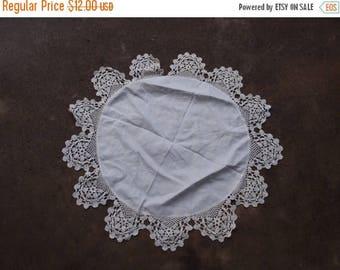 SALE SALE SALE Vintage Doily Crocheted Round White Linen Table Topper Home Decor Wedding