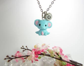 Elephant necklace, elephant jewelry, Initial necklace, personalized necklace, unique gift, best friend gift elephant gifts polymer clay cute