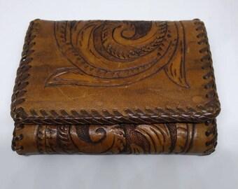 Vintage Hand Tooled Leather Wallet Bi-Fold Leather Wallet