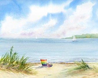 Cape Cod Beach Chair Sand Ocean Sailboat