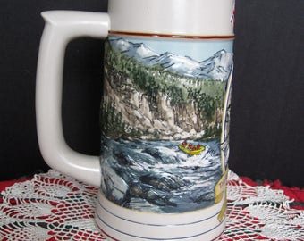 1992 Coors Beer Stein - The Rocky Mountain Legend Series - River Rafting - No. 26342 - No Box