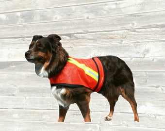 Dog Safety Vest of high visibility light weight orange mesh with reflective strips