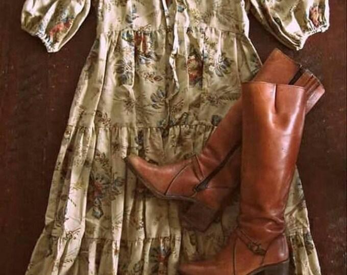 WINTER SALE Vintage 70s Bohemian dress / Boho Prairie style floral dress / Hippie Folk dress