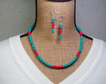 Natural Turquoise Gemstones, 925 Silver Necklace and Earrings