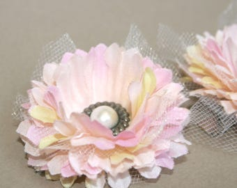 2 Light Pink and Cream Carnation Flower Hair Clips - EMBELLISHED with Vintage Inspired Pearl and Pewter Brad