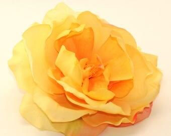 1 Jumbo Yellow Garden Rose  - Artificial Flower, Silk Flower Heads