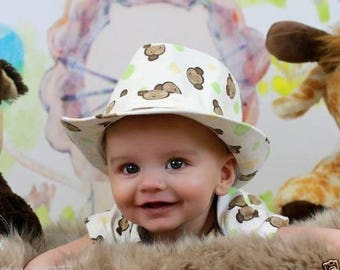 new baby boy 12 month mokey fedora hat top and hat  FREE shipping