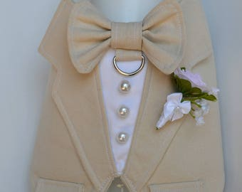 Dog Wedding Tuxedo,Linen Boy Dog Harness