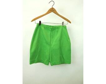 1960s shorts nylon stretchy long shorts lime green elastic waist Size S/M