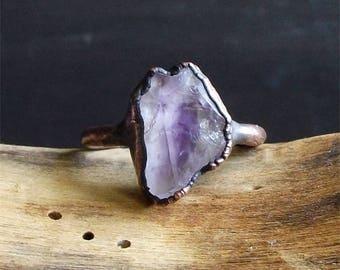 Raw Amethyst Copper Ring Rough Stone Jewelry Raw Crystal Stone Size 8.5 Midwest Alchemy Ring February Birthstone Gemstone Ring