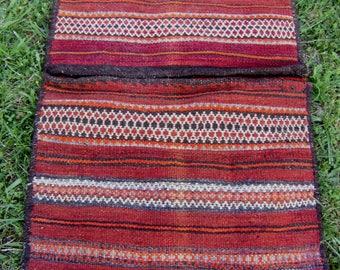 "3 ft 2"" x 2 ft   Tribal Khurjeen Saddle Bag. Hand Woven. Kilim. Cushions/pillows."
