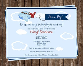 Airplane Baby Shower Invitations, Boys, Blue, Sky, Flying, Plane, Set of 10 Printed Cards with Envelopes, FREE Shipping, AIRBL, Airplanes