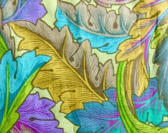 Kaffe Fassett OOP, rare, Dancing Leaves, Jade, remnant, botanical fabric