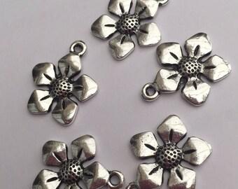 Set of 5 Tibetan silver flower charms