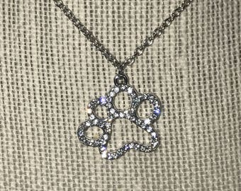Rhinestone Paw Print Necklace