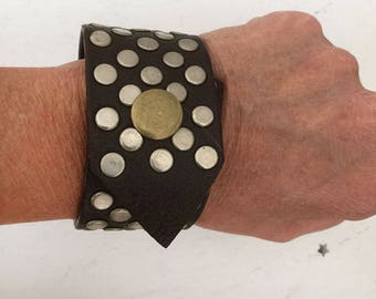 leather upcycled cuff with rivets, upcycled leather bracelet, leather cuff, repurposed leather belt, altered jewelry, prim, boho, rustic