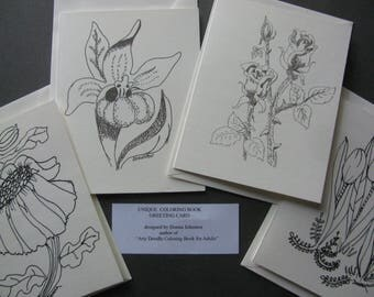 4 Floral note card set, Daisy, Lady Slipper, Rose, Tulip to be colored in by you