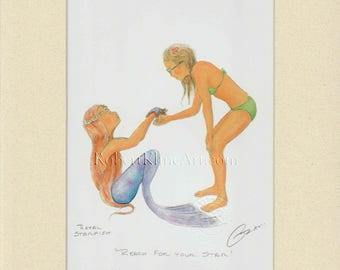 """Teen Girl with Young Mermaid Art Signed Robert Kline 11 x 14"""" Matted Print Fantasy Gift Beach House Nautical Home Office Boat Bathroom Decor"""