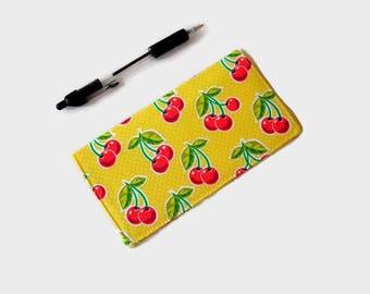 Yellow Checkbook Cover - Coupon Holder - Cherry Print Checkbook Holder - Purse Accessory Organizer - Womens Checkbook