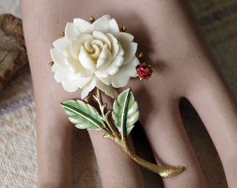 Vintage Signed JJ Brooch - Ladybug on a Rose enamel Brooch - Vintage Flower Brooch
